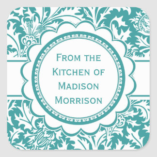 Teal Green William Morris Canning Jar Labels Square Sticker