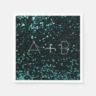 Teal Green Woodland Sequin Sparkly Glitter Cali Disposable Napkins