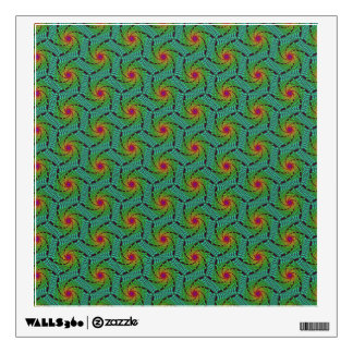 Teal green yellow and red fractal trippy design wall sticker