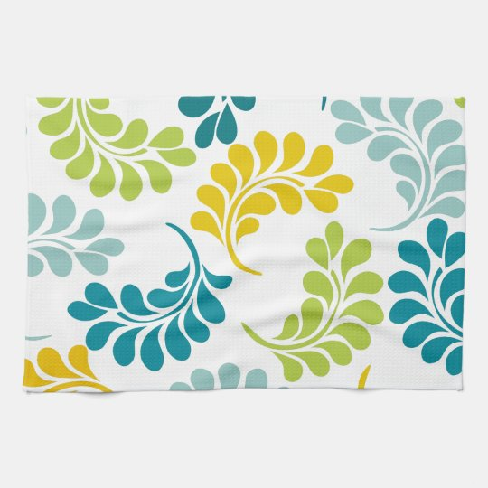 Teal And Red Yellow Orange Kitchen: Teal Green Yellow Floral Kitchen Gifts Hand Towels