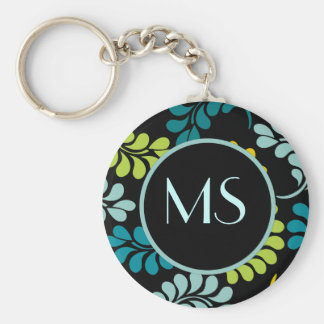 Teal Green Yellow Flowers Monogram Keychain