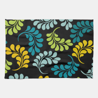 Teal Green Yellow Flowers Monogram Kitchen Towel