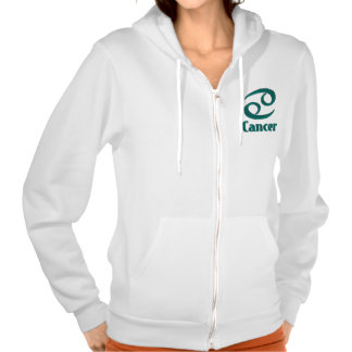 Teal Green Zodiac Sign Cancer Cotton Hoodie