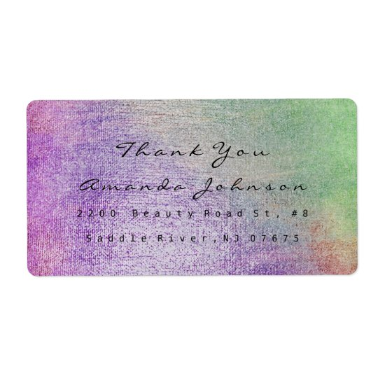 Teal Greenly Purple Blush Makeup Thank You Shipping Label