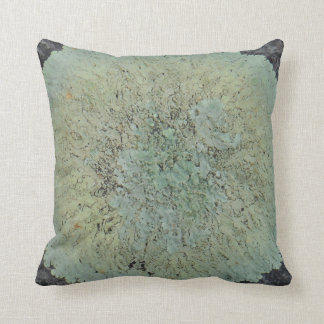 teal gren gray lichen abstract pattern pillow