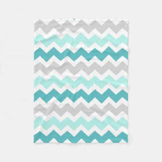 Teal Grey Chevron Pattern Blanket