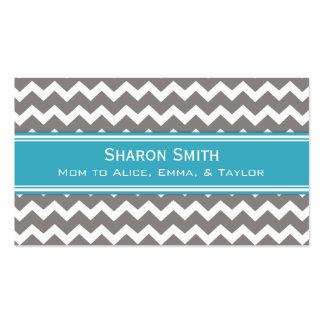 Teal Grey Chevron Retro Mom Calling Cards Business Card