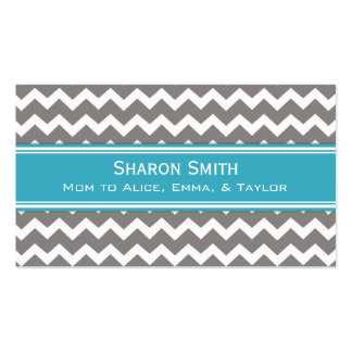 Teal Grey Chevron Retro Mom Calling Cards Pack Of Standard Business Cards