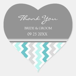 Teal Grey Chevron Thank You Wedding Favor Tags Heart Sticker