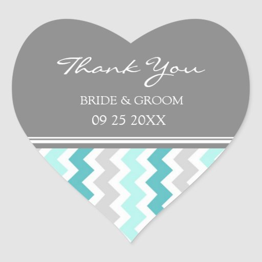 Teal Grey Chevron Thank You Wedding Favor Tags Heart Stickers