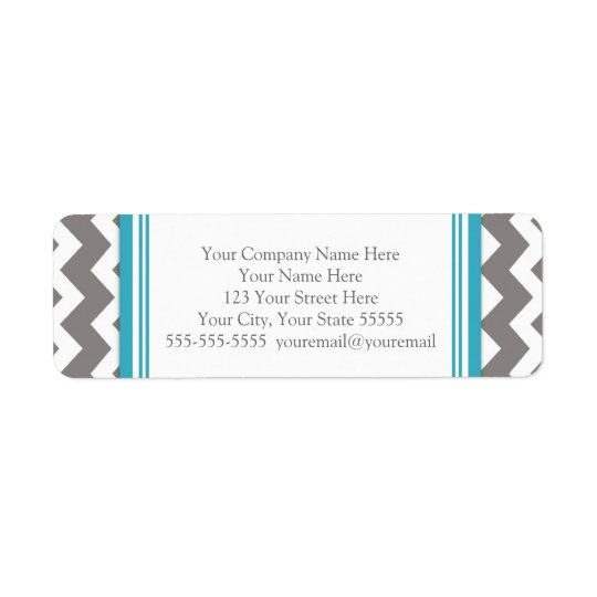 Teal Grey Chevrons Business Contact Info Labels