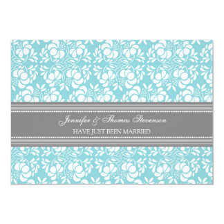 Teal Grey Damask Just Married Announcement Cards
