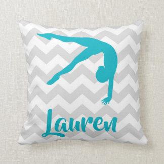 Teal Grey Gymnastics Throw Pillow