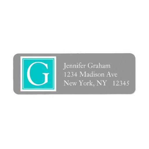 Teal Grey Simple Modern Monogram Return Address Labels