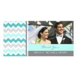Teal Grey Thank You Wedding Photo Cards
