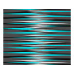 Teal, Grey, White, & Black Stripes Poster