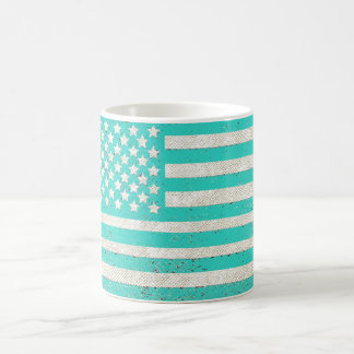Teal grunge American flag Coffee Mug