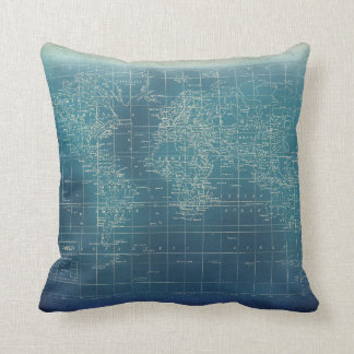 Teal Grunge World Map Pillow