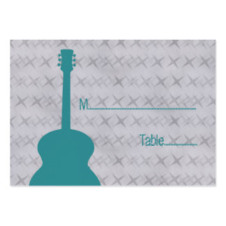 Teal Guitar Grunge Place Card Business Card Templates