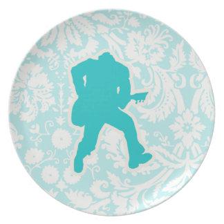 Teal Guitarist Plate