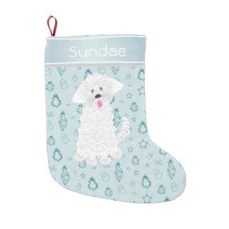 Teal Hand Drawn Bauble Maltese Dog•Custom Small Christmas Stocking