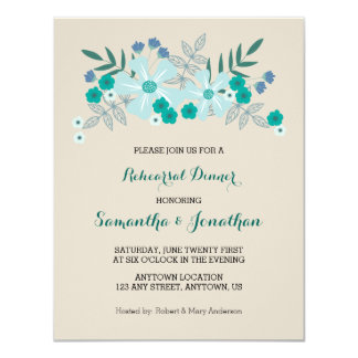 Teal Hand Drawn Flowers, Rehearsal Dinner Invite