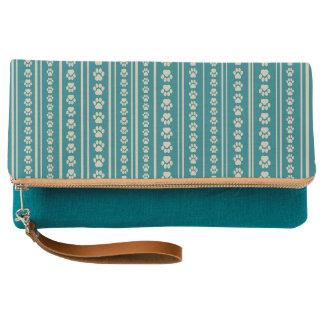 Teal Handbag with Tan Paw Print Stripes Clutch