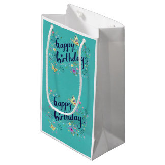 Teal Happy Birthday Gift Bag
