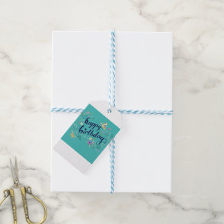 Teal Happy Birthday Gift Tag