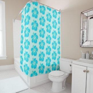 Teal Hawaiian Flower Shower Curtain
