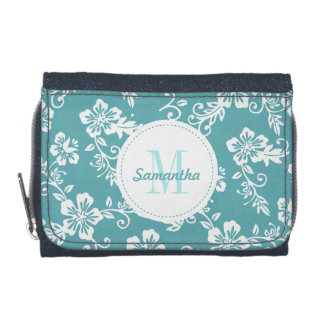 Teal Hawaiian Monogram Personalized Girls Wallet
