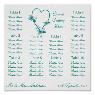 Teal Heart And Butterflies Seating Plan Poster