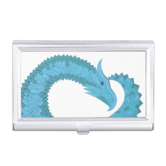 Teal heart dragon on white business card holder