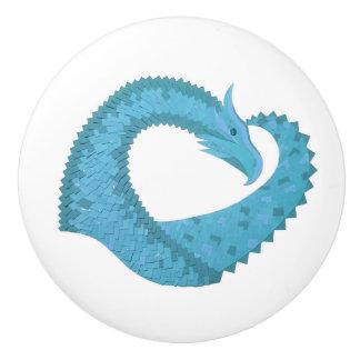 Teal heart dragon on white ceramic knob