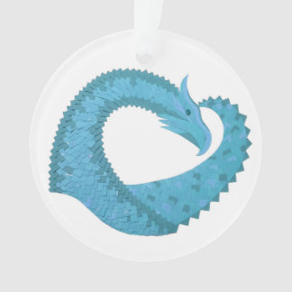 Teal heart dragon on white ornament