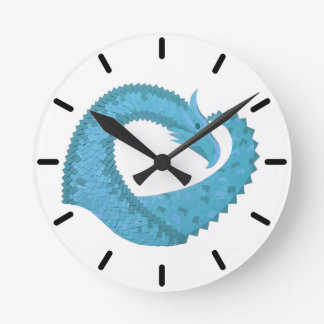 Teal heart dragon on white round clock