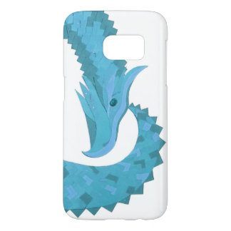 Teal heart dragon on white samsung galaxy s7 case