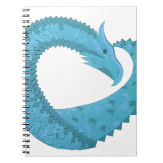 Teal heart dragon on white spiral notebook
