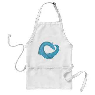 Teal heart dragon on white standard apron