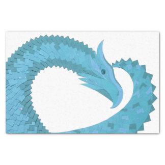 Teal heart dragon on white tissue paper