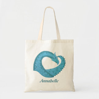 Teal heart dragon on white tote bag