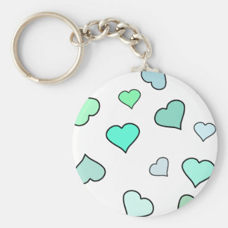Teal Heart Pattern Keychain