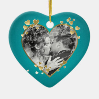 Teal Hearts and Ribbon Photo Ceramic Ornament