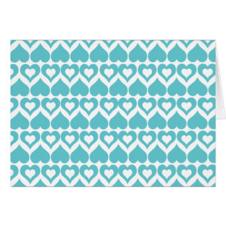 Teal Hearts Elegant Pattern Customize Card