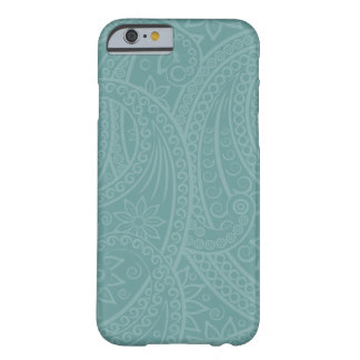Teal Henna Swirl Pattern iPhone Case