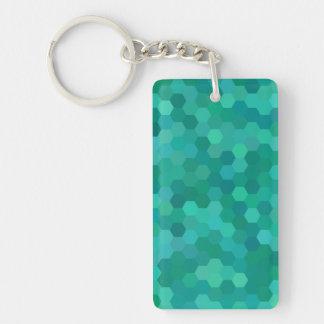 Teal Hexagonal Keychain