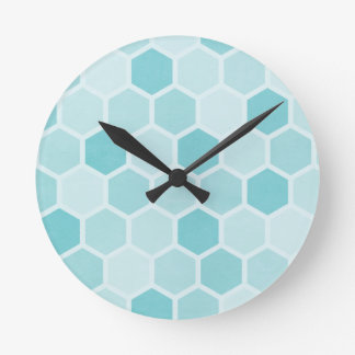 Teal Hexagons Round Clock