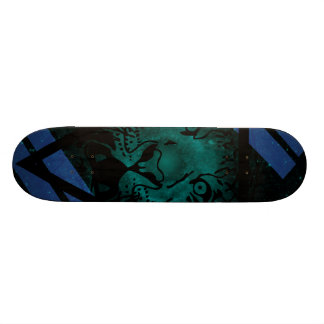 Teal Hipster Tiger Nebula with Black Triangle Skate Board