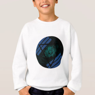 Teal Hipster Tiger Nebula with Black Triangle Sweatshirt
