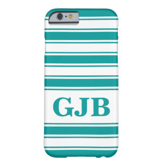 Teal Horizontal Stripe with Monogram Barely There iPhone 6 Case